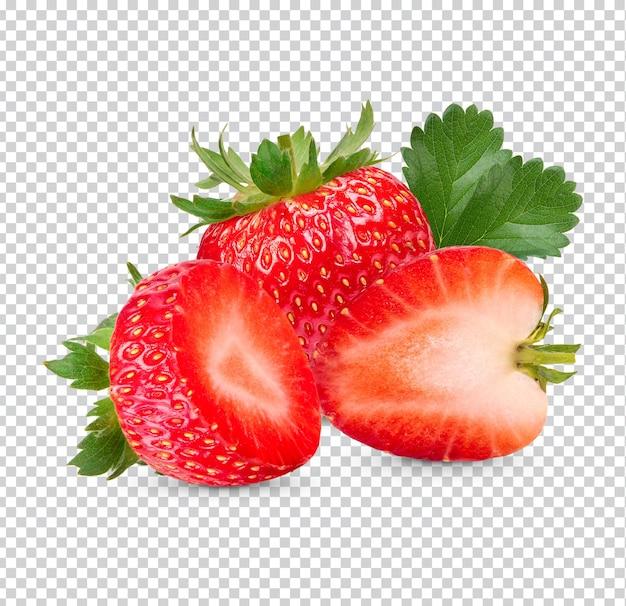 Frische erdbeeren mit blättern isoliert