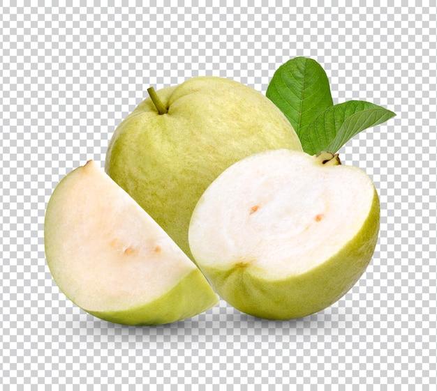 Frische guavenfrucht mit blättern isolierte wiedergabe