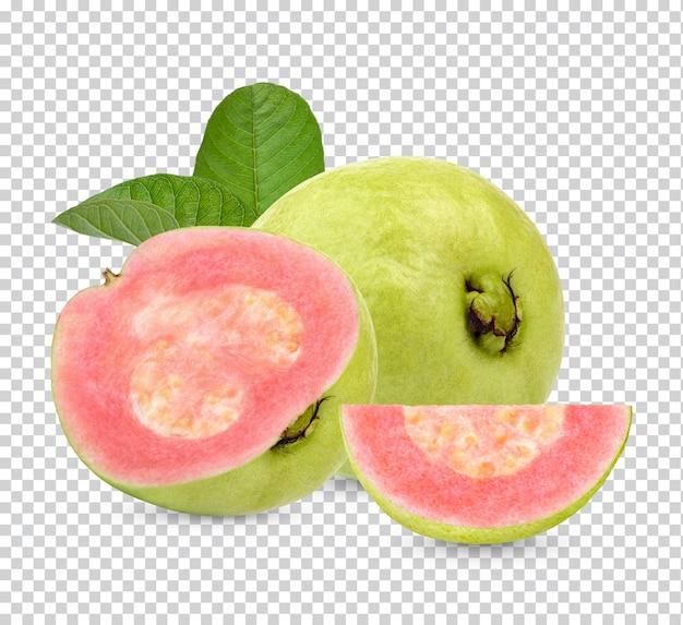 Frische guavenfrucht mit isolierten blättern premium psd