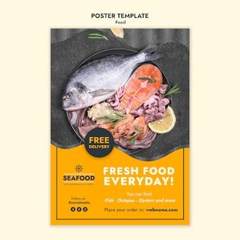 Frische meeresfrüchte-plakatschablone
