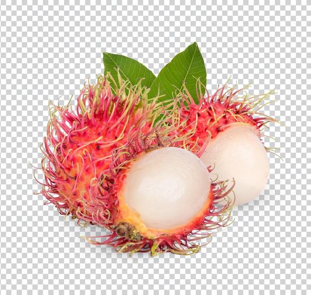 Frische rambutanfrucht mit isolierten blättern premium psd