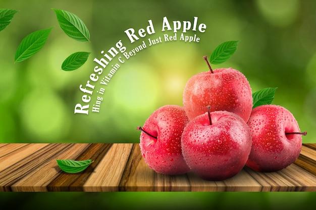 Frische rote äpfel der natürlichen farm auf dem brett und dem grünen hintergrund.