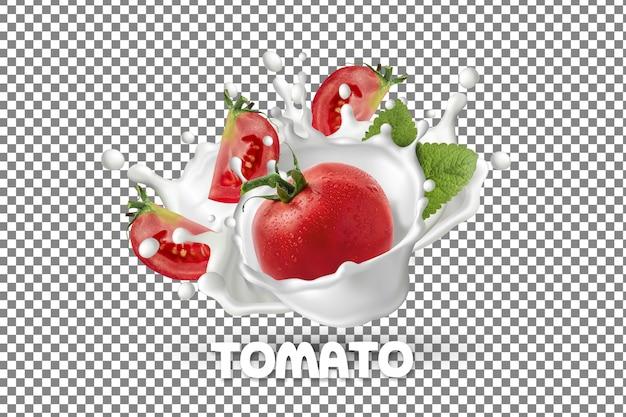 Frische tomate mit milchjoghurt-spritzer isoliert