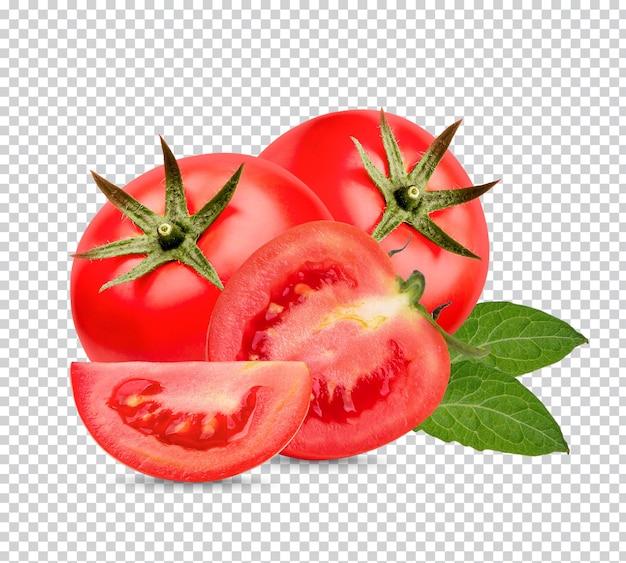 Frische tomaten mit isolierten blättern