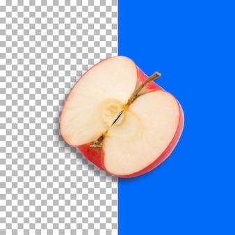 Frischer halber roter apfel lokalisiert auf transparenzhintergrund.
