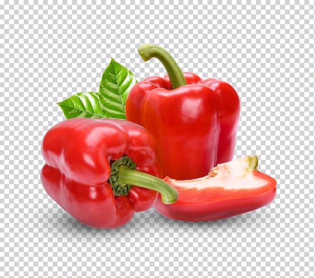 Frischer paprika mit blättern isoliert