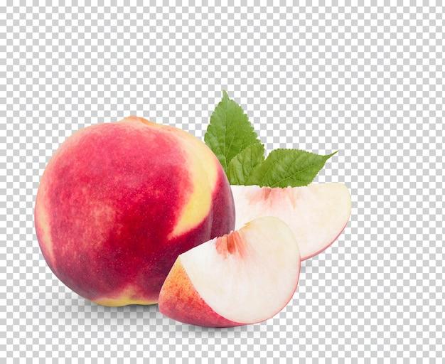 Frischer pfirsich mit blättern isoliert premium psd