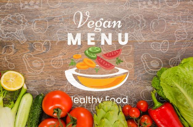 Frisches gemüse mit veganem menü