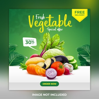 Frisches gesundes gemüse social-media-post-banner-vorlage und instagram-post