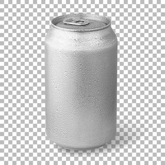 Frisches kaltes bier auf silberdose isoliert