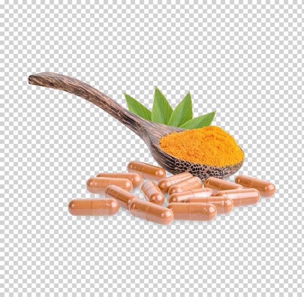 Frisches kurkuma-pulver in holzlöffeln und kapseln separat isoliert premiun psd