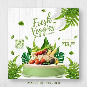 Frisches und gesundes gemüse lebensmittelgeschäft förderung social media instagram post banner vorlage