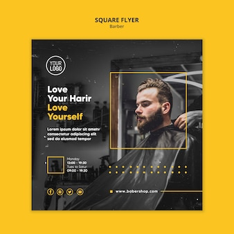 Friseur shop quadratische flyer vorlage