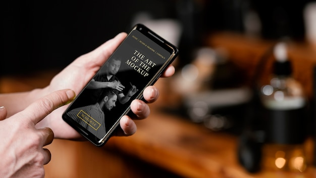 Friseursalon mit smartphone-mock-up