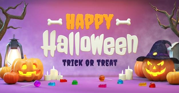 Fröhliche halloween-flyer-hintergrundszene mit zeug und schriftzug in realistischer 3d-wiedergabe