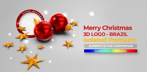 Frohe weihnachten 3d-elemente für die komposition