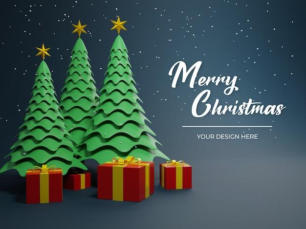 Frohe weihnachten 3d karte modell mit baum und geschenkbox nachtmodus