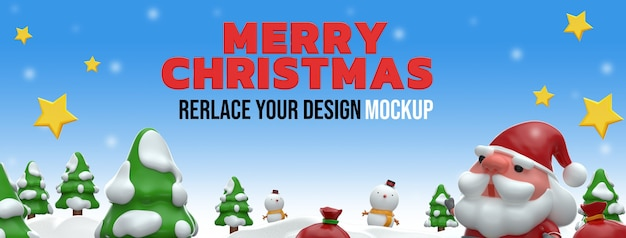 Frohe weihnachten 3d rendering mockup design