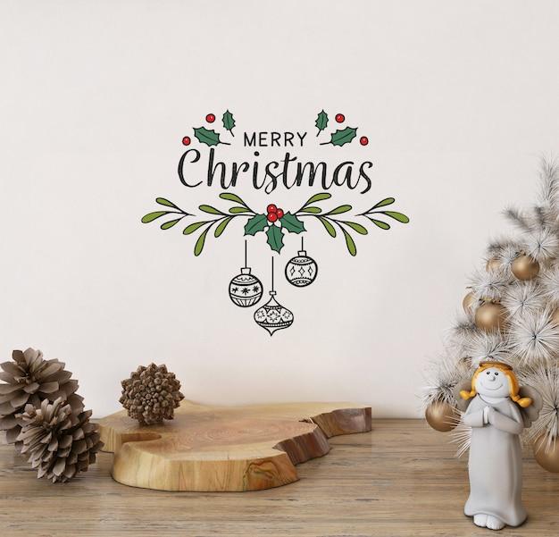 Frohe weihnachten auf wandmodell mit weihnachtsdekoration