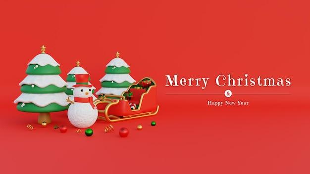 Frohe weihnachten-banner mit schneemann-zylinder und weihnachtsmann-wagen gefüllt mit geschenken und verschneiten bäumen