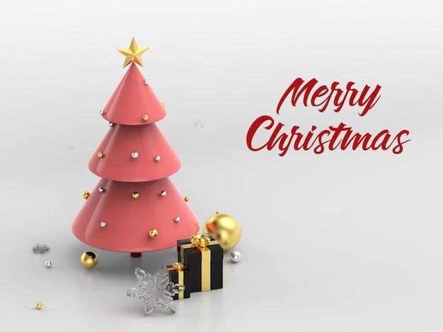 Frohe weihnachten baum mit geschenkbox modell