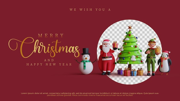 Frohe weihnachten charakter illustration 3d render vorlage hintergrund gruß