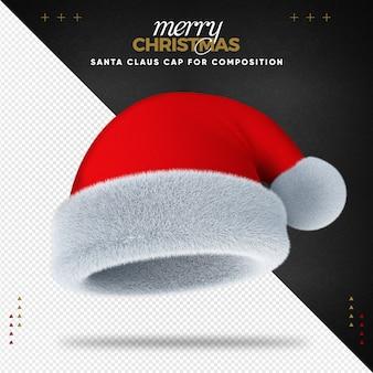 Frohe weihnachten der weihnachtsmütze 3d für komposition