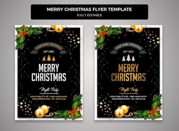 Frohe weihnachten flyer entwurfsvorlage