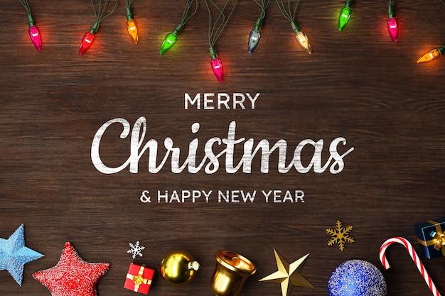 Frohe weihnachten hintergrundmodell mit dekoration