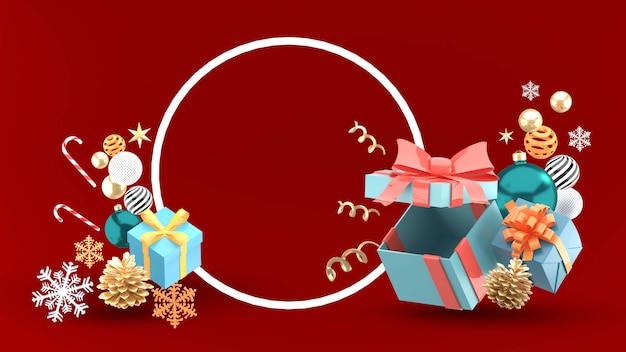 Frohe weihnachten in einem kreis, umgeben von geschenkboxen, bällen, sternen und schnee auf rot