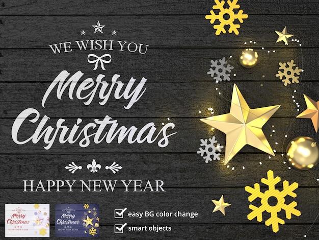 Frohe weihnachten komposition mit sternen und glitzer