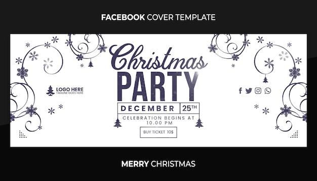 Frohe weihnachten mitternachtsparty facebook-cover oder web-banner-vorlage