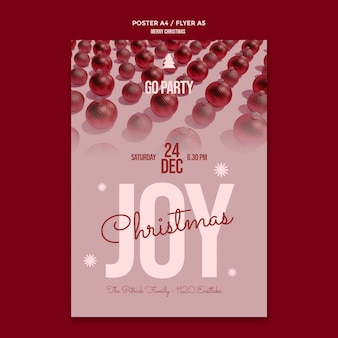 Frohe weihnachten party flyer vorlage
