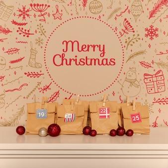 Frohe weihnachten schriftzug mock-up