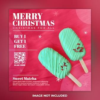 Frohe weihnachten social media post essen und instagram post