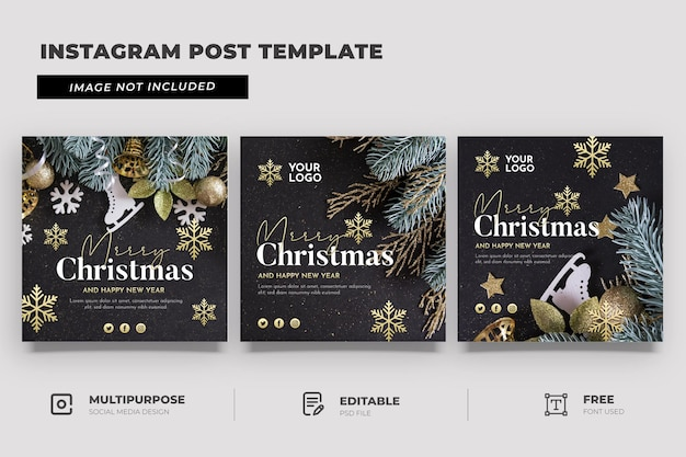 Frohe weihnachten social media template post