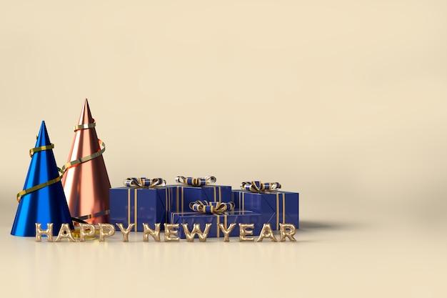 Frohe weihnachten und ein frohes neues jahr feier mit geschenkbox dekorationen Premium PSD