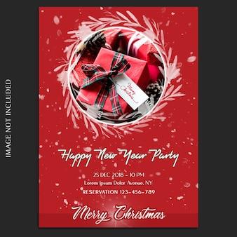 Frohe weihnachten und ein glückliches neues jahr 2019 foto mockup und einladungskarte oder flyer vorlage