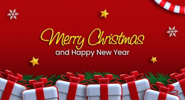 Frohe weihnachten und ein glückliches neues jahr-banner-vorlage mit 3d-hintergrund