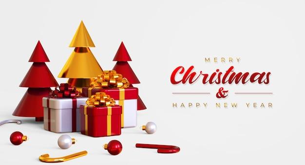 Frohe weihnachten und frohes neues jahr banner vorlage mit kiefer, geschenkboxen und lampen