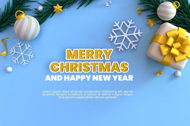 Frohe weihnachten und guten rutsch ins neue jahr-feiertagsgrußkarte mit 3d-render-hintergrund