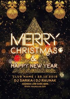 Frohe weihnachten und neujahr party flyer