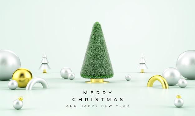 Frohe weihnachten verkauf banner mit 3d-objekten