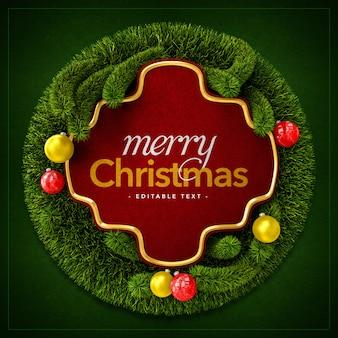 Frohe weihnachtskranz und weihnachtskugeln