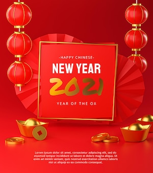 Frohes chinesisches neujahr 2021 template poster design 3d-rendering