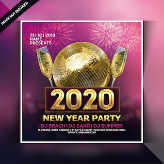 Frohes neues jahr 2020 party flyer