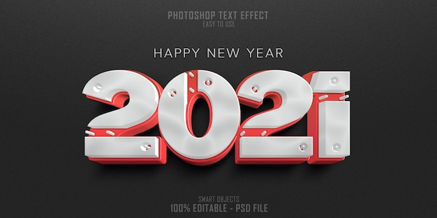 Frohes neues jahr 2021 3d-textstil-effektschablone