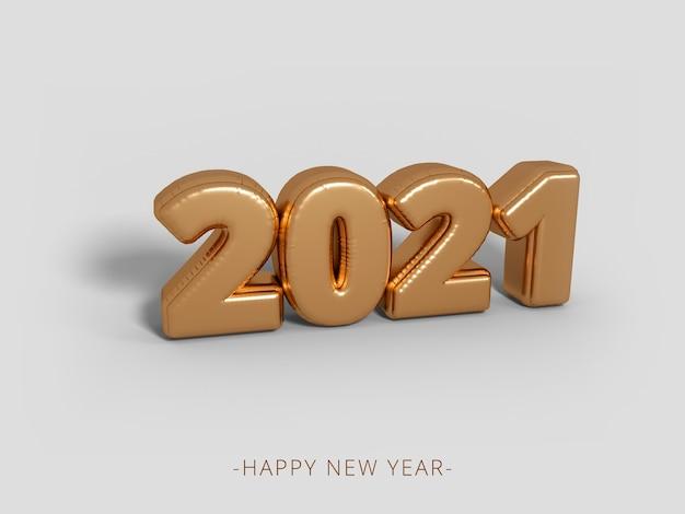 Frohes neues jahr 2021 goldene 3d rendern