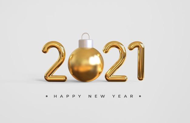 Frohes neues jahr 2021 mit weihnachtsball