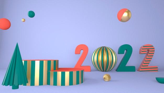 Frohes neues jahr 2022. 3d-zahlen mit geometrischen formen und weihnachtskugel. 3d-rendering.